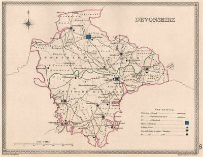DEVONSHIRE antique county map by CREIGHTON/WALKER. Electoral 1835 old