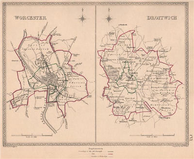 WORCESTERSHIRE TOWNS. Worcester Droitwich plans. CREIGHTON/WALKER 1835 old map