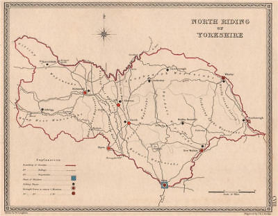 NORTH RIDING OF YORKSHIRE antique county map by CREIGHTON/WALKER. Electoral 1835