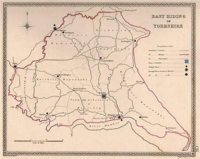 EAST RIDING OF YORKSHIRE antique county map by CREIGHTON/WALKER. Electoral 1835