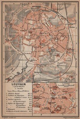 LEUVEN LOUVAIN LÖWEN antique town city plan. Belgium carte. BAEDEKER 1905 map