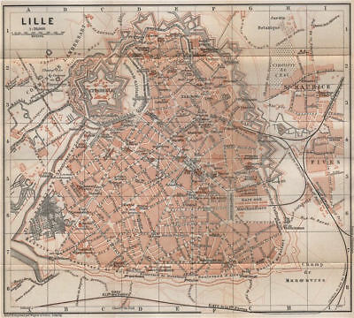 LILLE antique town city plan de la ville. Nord. France carte. BAEDEKER 1897 map