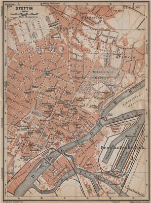 STETTIN SZCZECIN antique town city plan miasta. Poland mapa. BAEDEKER 1913