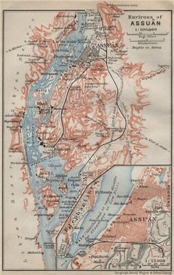 ASWAN ENVIRONS and antique town city plan. Assuan. Egypt. BAEDEKER 1914 map