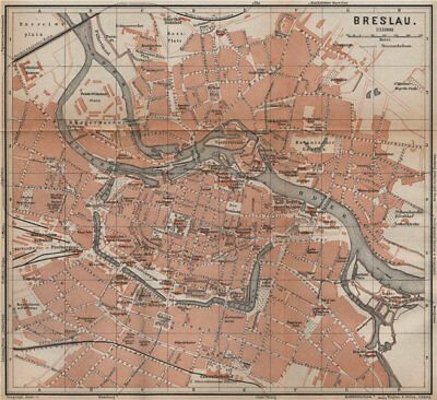 BRESLAU WROC?AW antique town city plan miasta I. Wroclaw. Poland mapa 1900