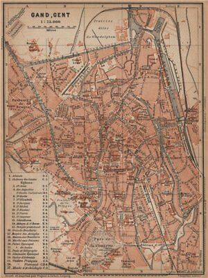 GHENT GAND GENT antique town city plan. Belgium carte. BAEDEKER 1905 old map