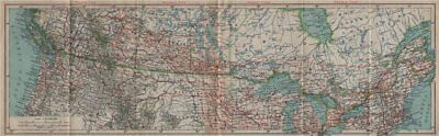 Canada/United States transcontinental railroads. Indian reservations 1922 map