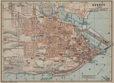 QUEBEC CITY. Ville de Québec. town city plan. Canada carte. BAEDEKER 1922 map