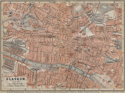 GLASGOW antique town city centre plan. Scotland. BAEDEKER 1910 old map
