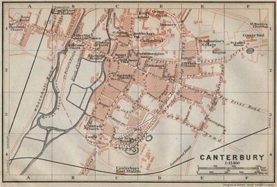 CANTERBURY antique town city plan. Kent. BAEDEKER 1910 old map chart