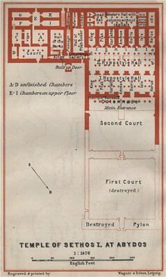 TEMPLE OF SETHOS I at ABYDOS ground plan. Egypt. BAEDEKER 1914 old antique map
