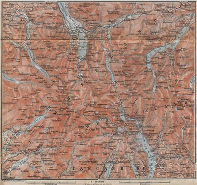 THE LAKE DISTRICT topo-map. Keswick Wimdermere Grasmere Ambleside 1910 old