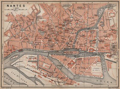 NANTES antique town city plan de la ville. Loire-Atlantique carte 1905 old map