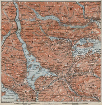 LOCH LOMOND & THE TROSSACHS. Helensburgh Balloch Drymen. Scotland 1910 old map