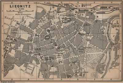 LIEGNITZ LEGNICA antique town city plan miasta. Silesia, Poland mapa 1900
