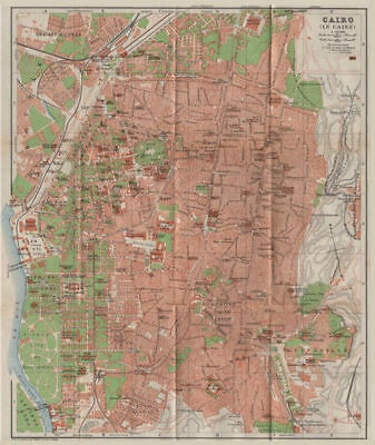 CAIRO / LE CAIRE antique town city plan. Egypt. BAEDEKER 1911 old map