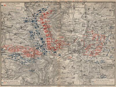 FRANCO-PRUSSIAN WAR. Battle of Mars-La-Tour Borny–Colombey 1870 Metz 1892 map