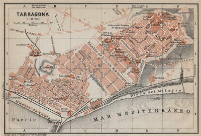 TARRAGONA antique town city ciudad plan. Spain España mapa. BAEDEKER 1913