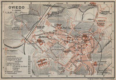 OVIEDO antique town city ciudad plan. Spain España mapa. BAEDEKER 1913 old