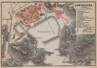 CARTAGENA antique town city ciudad plan. Spain España mapa. BAEDEKER 1913