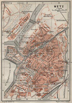 METZ antique town city stadtplan. Moselle carte. BAEDEKER 1906 old map