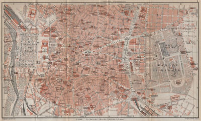 MADRID, INNER TOWN antique town city ciudad plan. Spain España mapa 1913