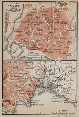 PALMA DE MALLORCA town city plan & environs. Majorca. Spain España 1913 map