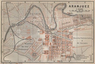 ARANJUEZ antique town city ciudad plan. Spain España mapa. BAEDEKER 1913