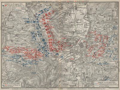 FRANCO-PRUSSIAN WAR. Battle of Mars-La-Tour Borny–Colombey 1870 Metz 1906 map