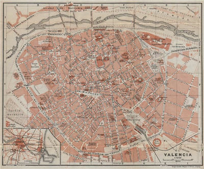 VALENCIA antique town city ciudad plan. Spain España mapa. BAEDEKER 1913
