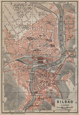 BILBAO antique town city ciudad plan. Spain España mapa. BAEDEKER 1913 old
