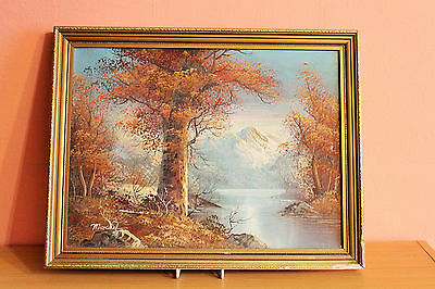 Oil Painting Signed Moncrief French Artist Tree River Mountains Landscape