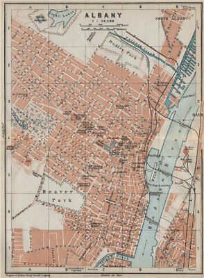 ALBANY antique town city plan. New York State. BAEDEKER 1909 old map