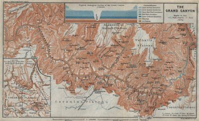THE GRAND CANYON OF THE COLORADO RIVER. Geological section. Arizona 1909 map