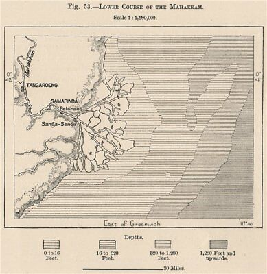 Lower course of the Mahakam river, Kalimantan, Borneo, Indonesia 1885 old map