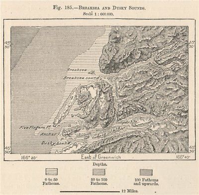 Breaksea and Dusky sounds. New Zealand 1885 old antique vintage map plan chart
