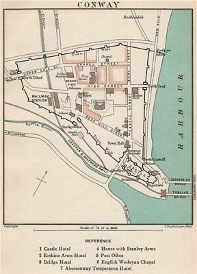CONWAY town/city plan. Wales. BARTHOLOMEW 1902 old antique map chart