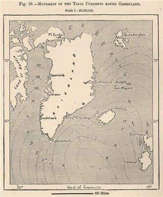 Movement of the Tidal currents round Greenland 1885 old antique map plan chart