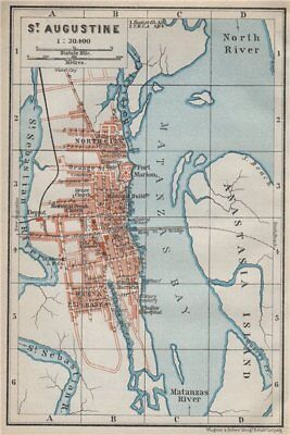ST AUGUSTINE antique town city plan. Florida. BAEDEKER 1909 old map