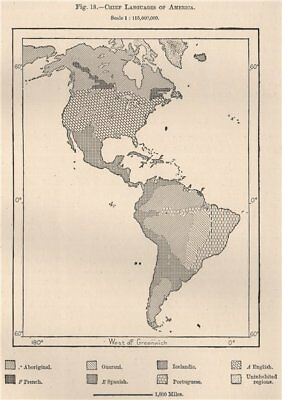 Chief Languages of the Americas.  1885 old antique vintage map plan chart