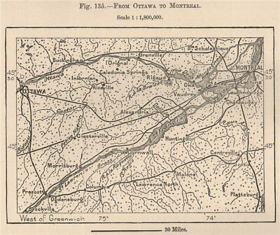 From Ottawa to Montreal. Canada 1885 old antique vintage map plan chart