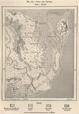 Suva and Levuka. Fiji. The Fiji Islands 1885 old antique map plan chart