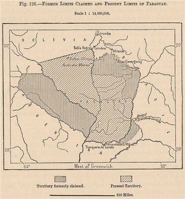 Former limits claimed and present limits of Paraguay 1885 old antique map