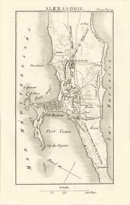 Town plan of ALEXANDRIA, EGYPT 1818 old antique vintage map chart