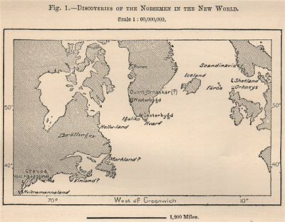 Discoveries of the Norsemen in the New World. North America. Vikings 1885 map