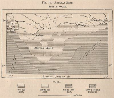 Agulhas Bank. South Africa 1885 old antique vintage map plan chart