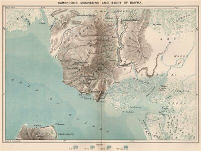 Cameroon Mountains and Bight of Biafra/Bonny. Bioko. Douala 1885 old map