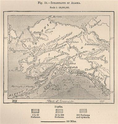 Inhabitants of Alaska 1885 old antique vintage map plan chart