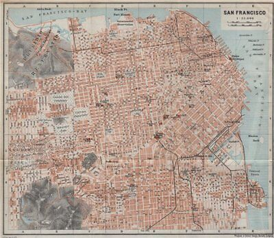 SAN FRANCISCO antique town city plan. California. BAEDEKER 1909 old map