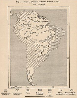 Ethnical divisions of South America in 1893 1885 old antique map plan chart